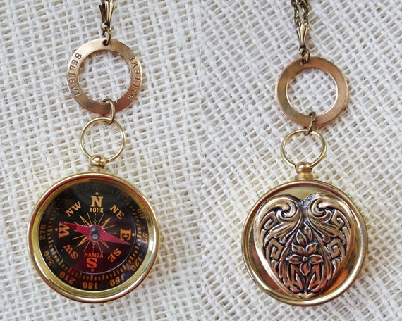 Follow Your Heart Compass Necklace You Choose Love Dream Believe Hope Personalize Working Functional Brass Compass