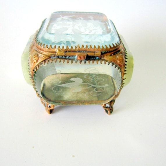 Antique Jewelry Casket Box Victorian French Ormolu Gilt Beveled Glass Jewelry Trinket Casket Box