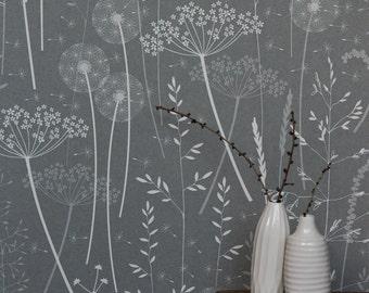 Paper Meadow Wallpaper - Charcoal