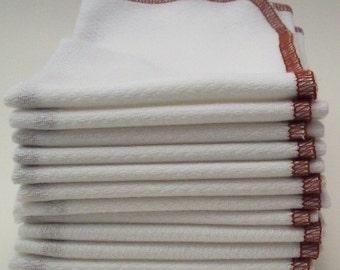 Birds Eye Unpaper Towels - Reusable Birdseye Cotton Kitchen Towel - Reuable Napkins Eco Friendly Housewarming Gift - Cinnamon Brown Bordered