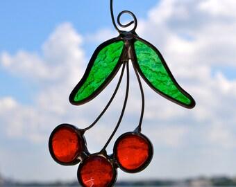 Michigan Cherries Stained Glass Suncatcher