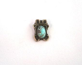 1960 handmade turquoise pendant silver