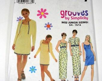Simplicity 8570 Juniors Dress and Jacket Pattern Size 3-4  9-10 UNCUT