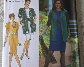 Misses Dress and Jacket Pattern Size 10, 12, 14, 16, 18, uncut Easy to Sew Simplciity 7101 Pattern