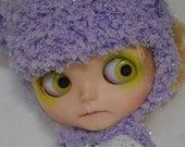 Neo Blythe Doll Crochet Bear Hat Helmet Sparkly Lilac