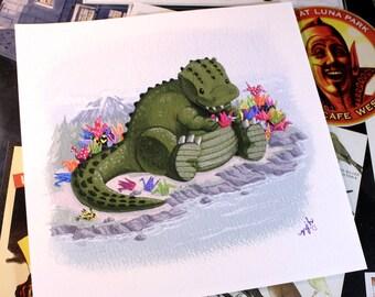 """Lil 'Zilla's Wish - 8""""x8"""" Godzilla w/ Paper Cranes Digital Archival Print"""