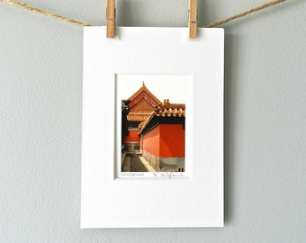 Red Wall Stocking Stuffer, Architecture Photography, Rustic Red Photograph, Asian Art, Chinese Photography, Asian Decor, 5x7 Matted