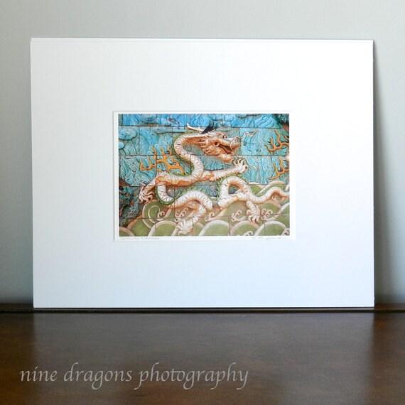 Asian Dragon Wall Art, Chinese Dragon Photo, Turquoise Asian Art, Blue Gold Asian Decor, China Travel Photography, 5x7 Matted Print