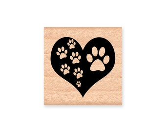 HEART and PAWS~Rubber Stamp~Dog or Cat Prints~Pet and Animal Love and Support~wood mounted (22-02)