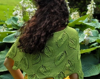 Hand knit leafy capelet cape shawl wrap stole shoulders warmer eco-fashion bridal wedding bridesmaid luxurious mossy green - Forest Nymph