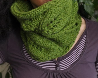 Hand knit leafy cowl wrap knitted neckwarmer texture neck cuff chunky tube scarf eco snood in grass green or Choose Your Color