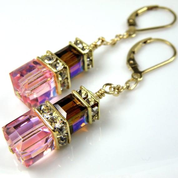 Pink Chocolate Earrings, Crystal Cube, Gold Filled, Mocha Brown, Bridesmaid, Bridal Wedding, Handmade Jewelry, October Birthday