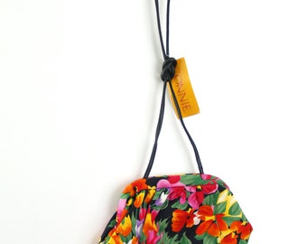 Floral Connie Purse with Original Tag // small vintage flowers 80s 90s bag NOS new old stock // tulips red yellow pink purple black