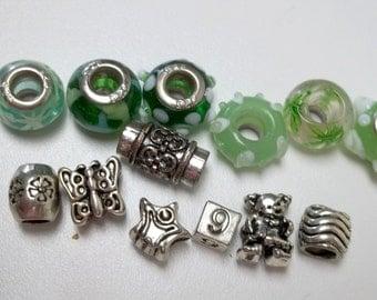 6 green tone euro beads metal euro beads destash