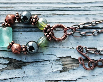 Recycled Glass Jewelry, Bohemian Jewelry, Statement Necklace, Pendant, Hematite, Antiqued Copper, Long Chain Necklace, African Glass Beads