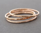 Rose Gold Ring 3 thin pink gold hammered ring stacking rings thumb ring, knuckle ring spring jewelry