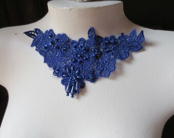 Venise Lace Applique in Cobalt Blue with Beadwork for Altered Couture, Jewelry or Costume Design CA 755cob