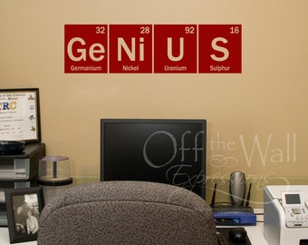 Genius vinyl wall decal, element decal, periodic table, classroom decor, science decal, fun gift