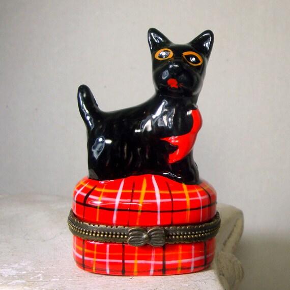 bo te de porcelaine noire scotch terrier limoges copie. Black Bedroom Furniture Sets. Home Design Ideas