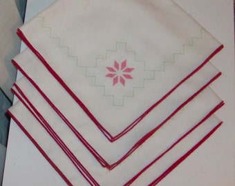 4 Unfinished Embroidery Christmas Napkins