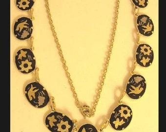 Vintage Exotic Japanese bird festoon necklace Victorian Mourning bird choker Black gold damascene jewelry