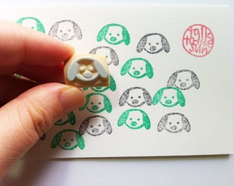 puppy dog hand carved rubber stamp. beagle face stamp. animal pet stamp. birthday baby shower card making. diy holiday gift tags stickers