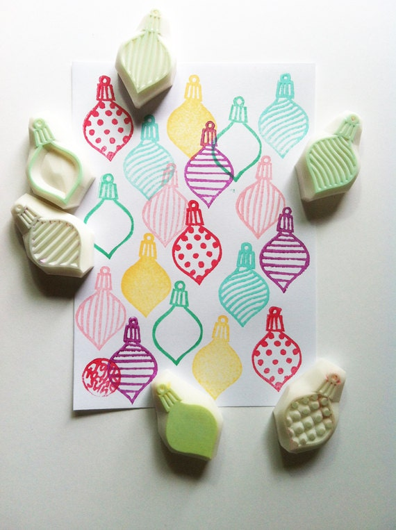 Diy Christmas Ornaments Etsy : Christmas rubber stamps hand carved stamp by