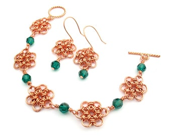 Copper Japanese Flower Chainmaille Bracelet and Earrings Set