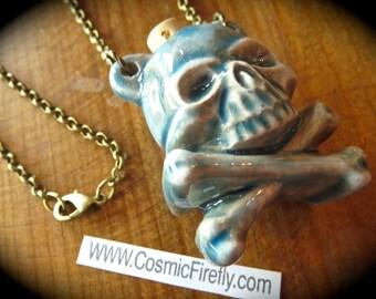 Pirate Skull Necklace Small Skull Bottle Necklace Blue Raku Ceramic Skull & Crossbones Pirate Necklace