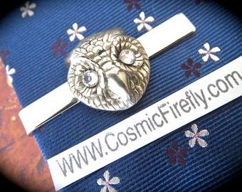 Silver Owl Tie Clip Silver Tie Clip Swarovski Crystal Eyes Vintage Style Steampunk Owl Silver Owl Men's Tie Clip Handcrafted USA
