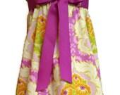 Zadee Dress... Lottie Da Fabric by Heather Bailey...Choice of Interchangeable Ribbon Belt... Girls Sundress...Girls Easter Dress