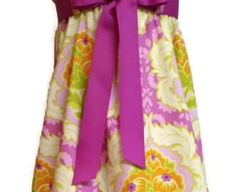 Zadee Dress... Lottie Da Fabric by Heather Bailey...Choice of Interchangeable Ribbon Belt... Girls Dress or Jumper