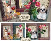 BEYOND THE FRAME - Gift Tags Digital Collage Sheet Printable Download pets images Scrapbooking greeting cards art cult graphics