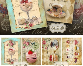 Printable download SWEET DREAM Gift Tags Digital Collage Sheet Vintage ephemera Paper Goods Greeting Cards decoupage Art Cult images