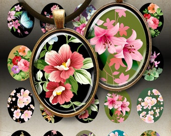 30x40 mm Oval Images GARDEN OF LOVE Digital Collage Sheet Printable download for bezel cabs glass and resin pendants jewelry craft paper