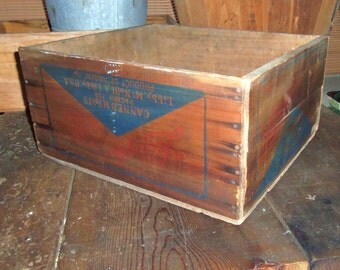 Vintage Wooden Crate Box Libby Corned MUTTON Advertising Primitive Antique Wood Storage