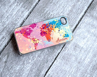 Dream Monogrammed Colorful World Map Phone Case - iPhone 4 + iPhone 5
