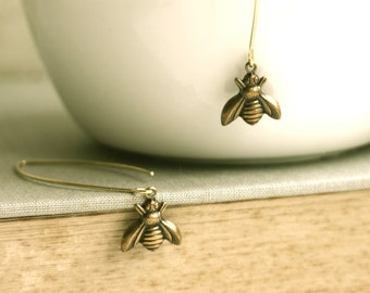 Tiny Brass Bee Earrings.  Honey Bee Earrings.  Brass Bee Dangle Earrings. Long Dangle. Bee Lover. Summer Garden Inspired. Nature Inspired.