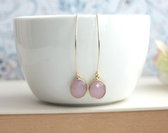 Gold Pink Opal Earrings. Marquise, Long Dangle Earrings. Bridesmaids Gift. For Sister. Pink Gold Wedding. Pink Opal Wedding. For Best friend