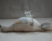 Linen Taxidermy Dove Soft Sculpture