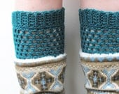 Deep Teal Crochet Boot Cuffs, ready to ship.