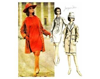 60s Womens Tunic Dress Pattern with Coat, Jacques Heim Vogue Paris Original 1462, Couture Dress Vintage Sewing Pattern
