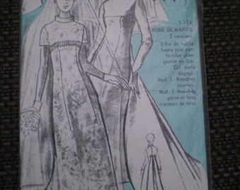 Vintage ELLE Wedding Dress in Two Sleeve Lengths FRENCH UNCUT