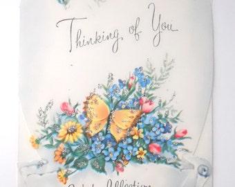 VALENTINES CARD 1950s VINTAGE- die cut paper, blue heart