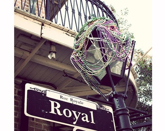 Mardi Gras Beads Photograph, New Orleans Rue Royal, French Quarter Photography, Street Sign, Vacation, Vintage Style, Purple Gray