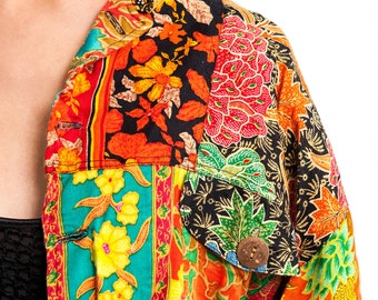 The Vintage Indonesian Textile Printed Cropped Jacket