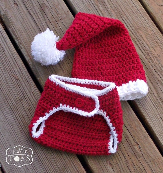 Free Crochet Pattern For Santa Hat And Diaper Cover ~ Pakbit for .