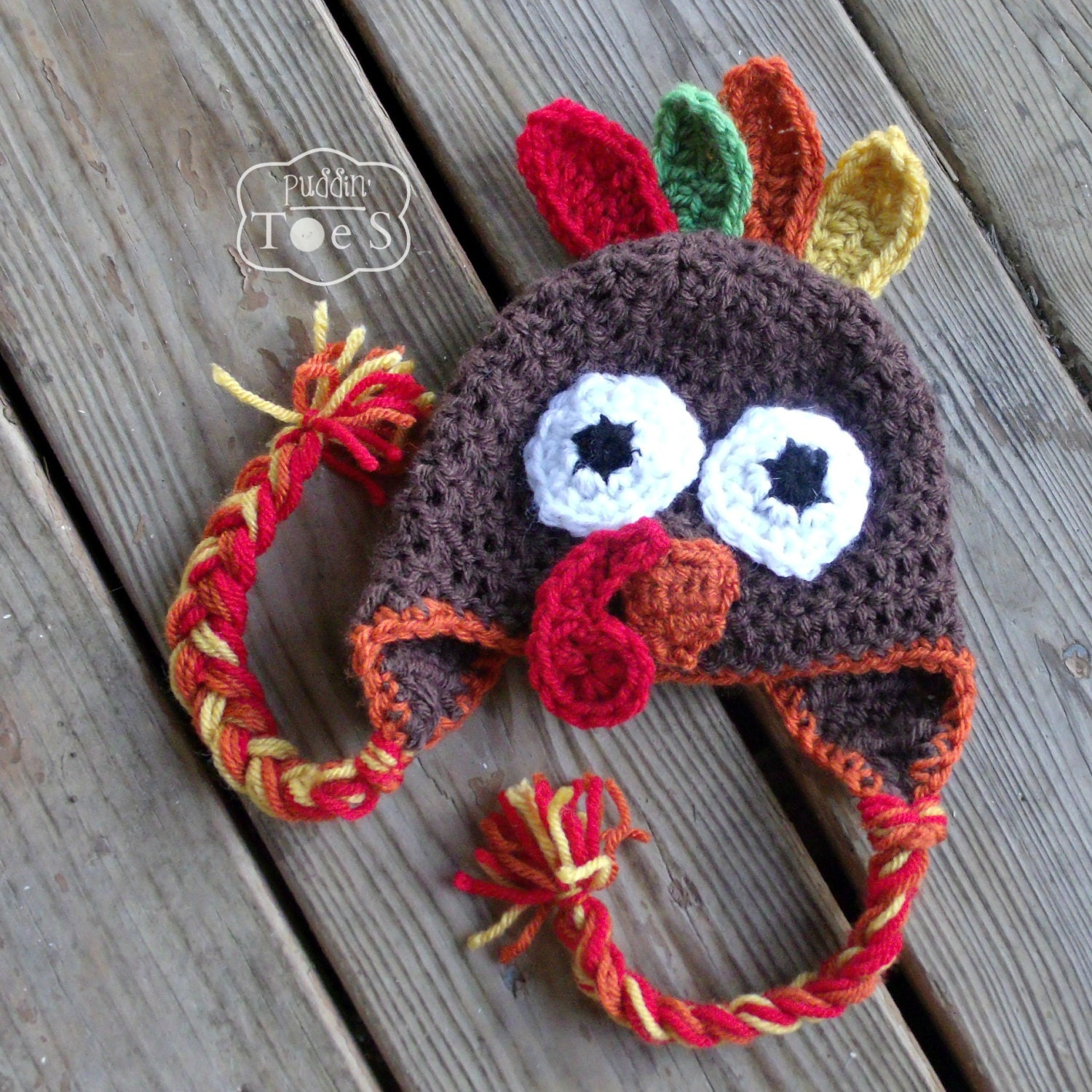 Crochet turkey hat baby turkey hat thanksgiving baby by puddintoes