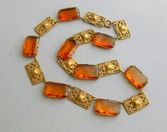 Art Deco Necklace. Amber Glass & Gilt Filigree.