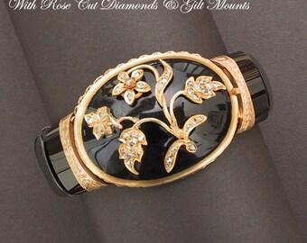 Antique Victorian Bracelet Onyx Diamonds Gilt Mounts Mourning Jewelry Goth Wedding Jewelry